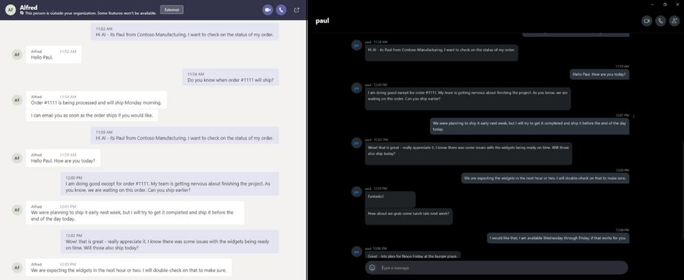 chat de teams con skype